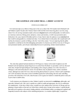 Native Son auxiliary assignment - The Leopold and Loeb Trials