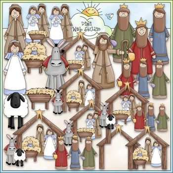 Nativity Clip Art - Jesus Is Born, Mary & Joseph, 3 Wise Men - CU Clip Art & B&W
