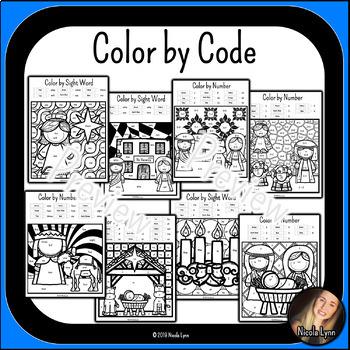 Christmas Nativity Bundle: Color by Code, Activity Book, Bingo, Memory