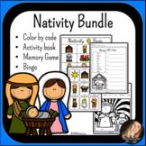 Christmas Nativity Bundle: Mini Book,Color by Code, Activity Book, Bingo, Memory
