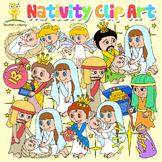 Nativity / Christmas / Biblical Clip Art 40 piece set color and b/w