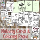 Nativity Christmas cards and coloring printables