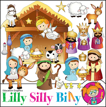 Nativity, Christmas Clipart. Set. {Lilly Silly Billy}