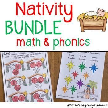 Nativity Christmas MATH and PHONICS Bundle!