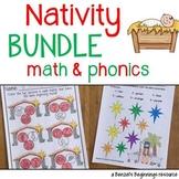 Nativity Christmas MATH and PHONICS Bundle