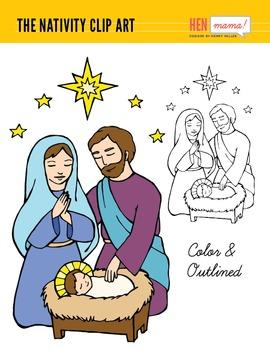 Nativity Clip Art (Hand Drawn) - Mary, Joseph and Baby Jesus
