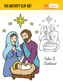 Nativity Clip Art (Hand Drawn) - Mary, Joseph and Baby Jesus
