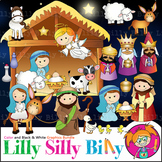 Nativity Clipart. BLACK AND WHITE & Color Bundle. {Lilly Silly Billy}