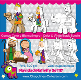Nativity Clipart Bundle Color and Black/White, Christmas,
