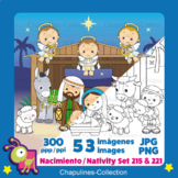 Nativity Clipart Bundle, color and black/white Sets 215 and 221