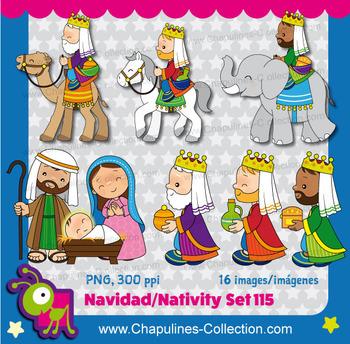 Nativity Clipart, Christmas, three wise men Set 115
