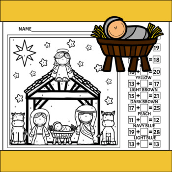 Nativity Color By Number/Addition