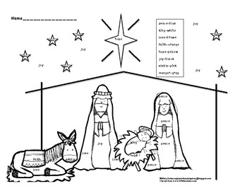 Nativity Color by Christmas Word-Kindergarten