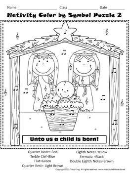 Christmas Nativity Color by Music Symbol/Note