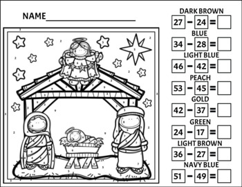 Nativity Color by Number 2/Subtraction