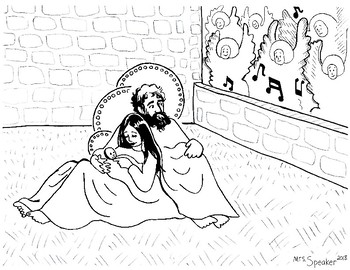 Nativity Holy Family Coloring Page
