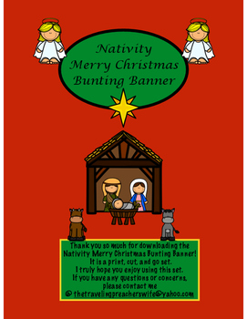 Nativity Merry Christmas Bunting Banner