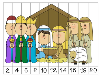 Nativity Number Order Puzzles by 2's {Dollar Deal}