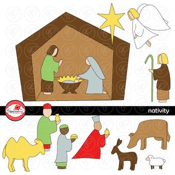 Nativity Scene Clipart Set by Poppydreamz