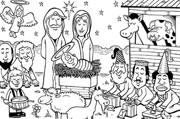 Christmas Nativity Scene- color in sheet