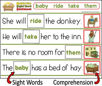 Nativity Sight Word Sentences - Christmas