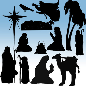 Nativity Silhouette Clip-Art! 154 Pieces! 25 Images!