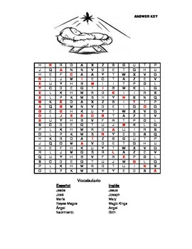 Nativity - Spanish Word Search & Answer Key - 1st - 3rd