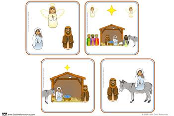 Nativity / Christmas Story Cut & Sequence Cards - EDITABLE