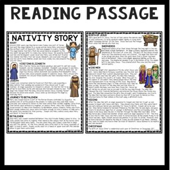 Nativity Story Reading Comprehension Worksheet Christmas