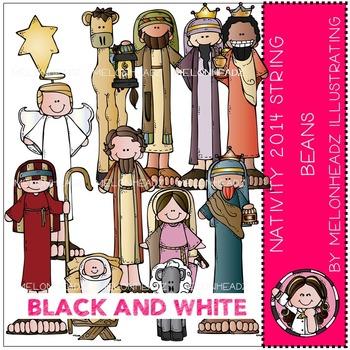 Nativity clip art - String Beans 2014 - BLACK AND WHITE- by Melonheadz