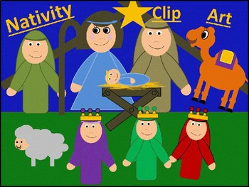 Christmas Nativity bulletin board Clip Art Church Preschool Mary Baby Jesus