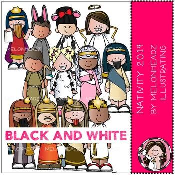 Nativity clip art 2019 - BLACK AND WHITE - Melonheadz Clipart