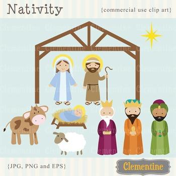 Nativity clip art - Christmas nativity scene