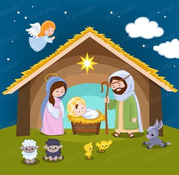 Nativity high resolution. Clipart christmas