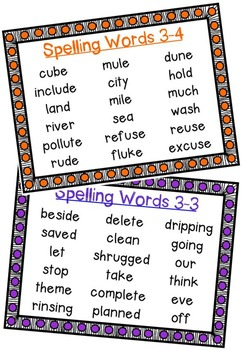Nat'l Geographic REACH Spelling and Vocab Homework/Stations Gr 2-Unit 3-Week 3-4