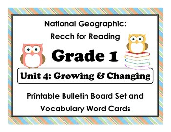 National Geographic Reach-Reading: Grade 1 - Unit 4 Bulletin Board & Vocab Cards