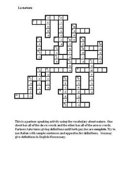 Natura (Nature in Italian) Partner puzzle Speaking activity