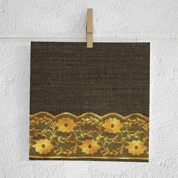 Natural Burlap And Gold Lace