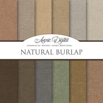 Natural Burlap Digital Paper patterns linen fabric texture scrapbook background