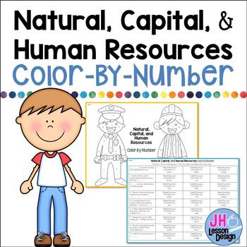 Natural, Capital, and Human Resources Color-By-Number