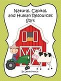 Natural, Capital, and Human Resources Sort - Social Studies (Economics)