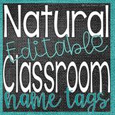 Natural Classroom Decor {{EDITABLE}} Name Tags- Blue