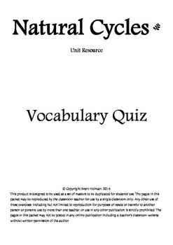 Natural Cycles Vocabulary Quizzes