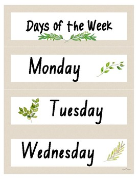 Days of the Week & Months of the Year Displays (Aus) - Natural with Watercolour