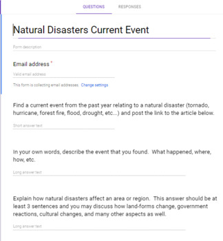 Natural Disaster Current Event Questions - Google Form