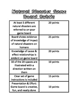 Natural Disaster Game Board Culminating Task with Rubric ~ 3rd Grade Science