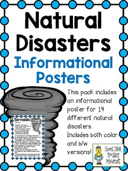 Natural Disaster Posters ~ Set of 14 Informational Posters (Color & B/W)