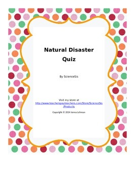Natural Disaster Quiz