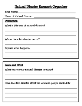 natural disaster research organizer and brochure template by lisa