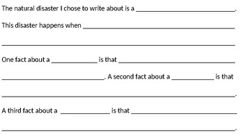 Natural Disaster Writing with Sentence Frames (Ready Gen) 2nd Grade
